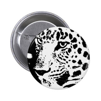 B&W Leopard Eyes 6 Cm Round Badge
