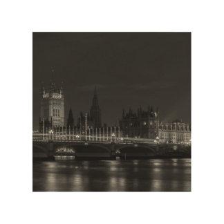B&W London Wood Print