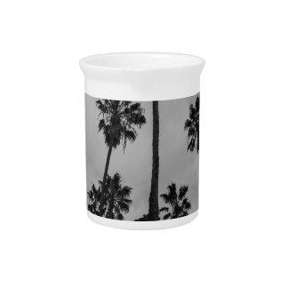 B&W Los Angeles palms Beverage Pitcher