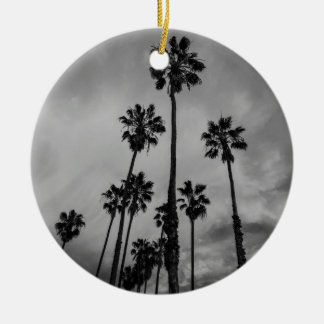B&W Los Angeles palms Round Ceramic Decoration