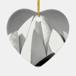 B&W Lotus Temple Ceramic Heart Decoration