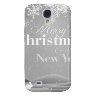 B&W Merry Christmas and Happy New Year Galaxy S4 Case