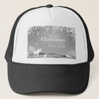 B&W Merry Christmas and Happy New Year Trucker Hat