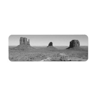B&W Monument Valley 3 Return Address Label
