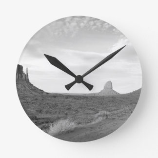 B&W Monument Valley 4 Round Clock