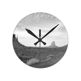 B&W Monument Valley 4 Wallclock