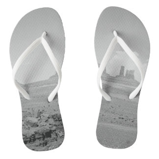 B&W Monument Valley Flip Flops