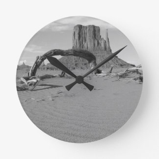 B&W Monument Valley in Arizona/Utah 2 Wall Clock