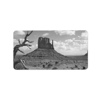 B&W Monument Valley in Arizona/Utah 4 Address Label