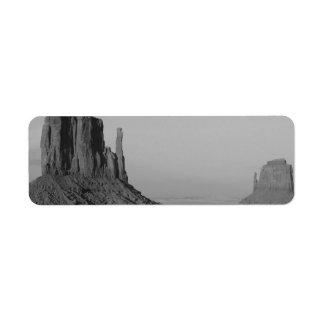 B&W Monument Valley in Arizona/Utah 5 Return Address Label