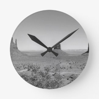 B&W Monument Valley in Arizona/Utah Wall Clock
