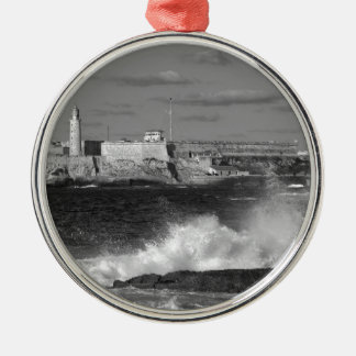 B&W Morro Castle Christmas Ornament