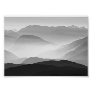 B&W Mountains Photo Print