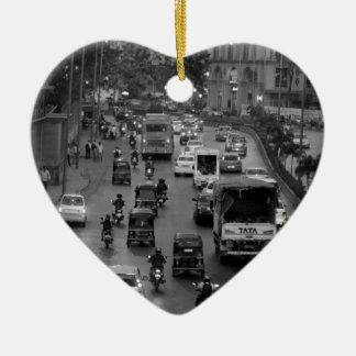 B&W Mumbai street Ceramic Heart Decoration