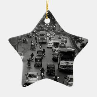 B&W Mumbai street Ceramic Star Decoration