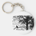 B&W Nevermore Raven Silhouette Basic Round Button Key Ring
