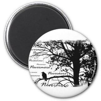 B&W Nevermore Raven Silhouette Magnet