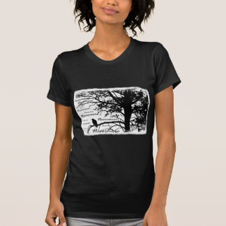 B W Nevermore Raven Silhouette T-shirts