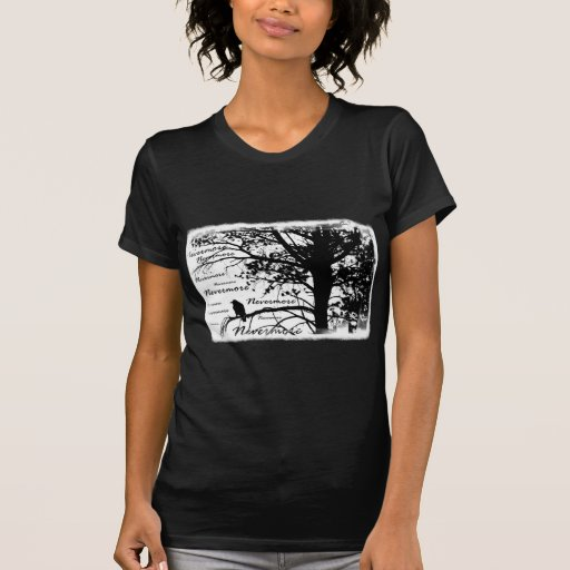 B&W Nevermore Raven Silhouette T-shirts