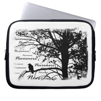 B&W Nevermore Raven Tree Silhouette - E.A. Poe Laptop Sleeve