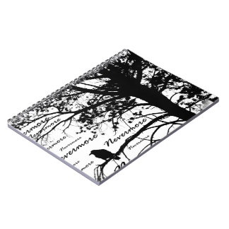 B&W Nevermore Raven Tree Silhouette - E.A. Poe Spiral Notebook