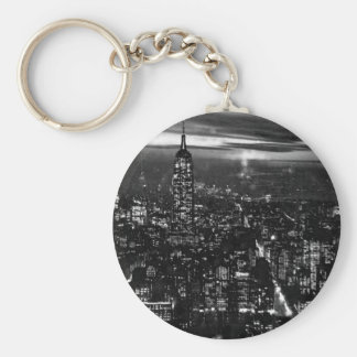 B&W New York City at Night Key Ring