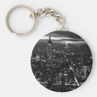 B W New York City at Night Keychain