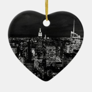 B&W New York City Ceramic Heart Decoration