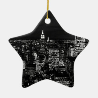 B&W New York City Ceramic Star Decoration