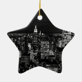 B&W New York City Christmas Ornament