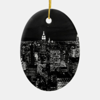 B&W New York City Christmas Ornament