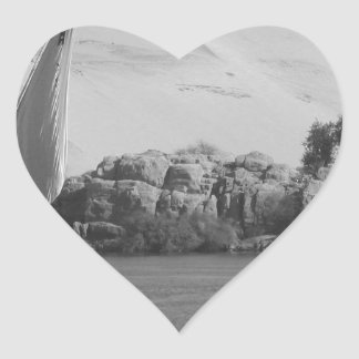 B&W Nile river Heart Sticker
