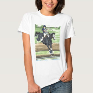 B&W Paint Horse XC into water Eventing Tshirts