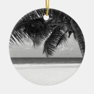 B&W Palm 7 Round Ceramic Decoration