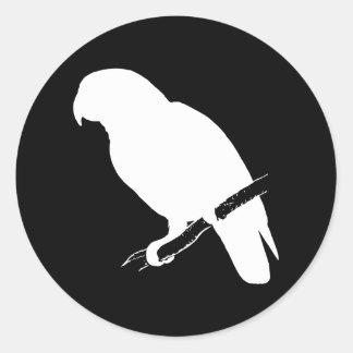 B&W Parrot Classic Round Sticker