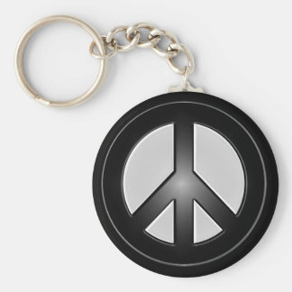 b&w peace sign basic round button key ring