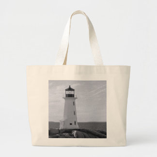 B&W Peggy's Cove Lighthouse Canvas Bags