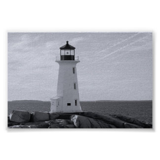 B&W Peggy's Cove Lighthouse Poster