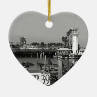 B&W Pier 39 Sea Lions Ceramic Heart Decoration