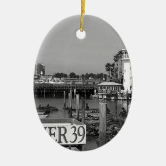 B&W Pier 39 Sea Lions Ceramic Oval Decoration