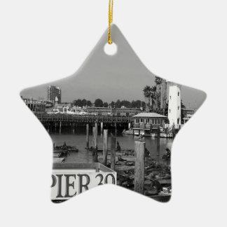 B&W Pier 39 Sea Lions Ceramic Star Decoration