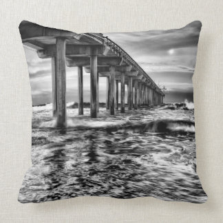 B&W pier at dawn, California Cushion