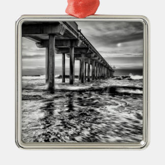 B&W pier at dawn, California Silver-Colored Square Decoration