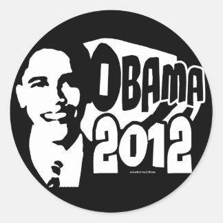 B&W Re-Elect Obama 2012 Gear Round Stickers