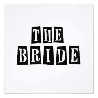 B&W Retro Stamp - The Bride 13 Cm X 13 Cm Square Invitation Card