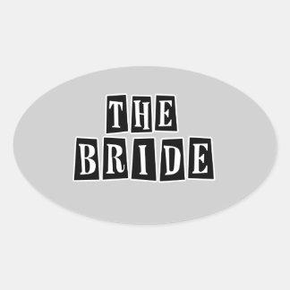 B&W Retro Stamp - The Bride Oval Sticker