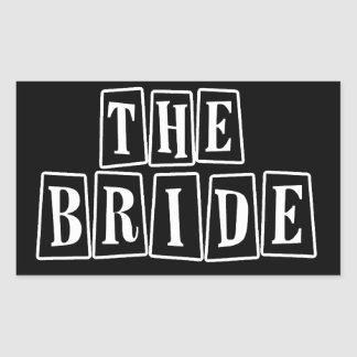 B&W Retro Stamp - The Bride Rectangular Sticker