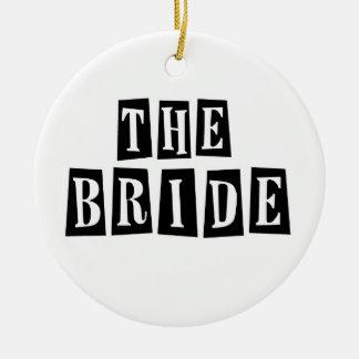 B&W Retro Stamp - The Bride Round Ceramic Decoration