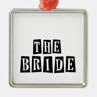 B&W Retro Stamp - The Bride Silver-Colored Square Decoration
