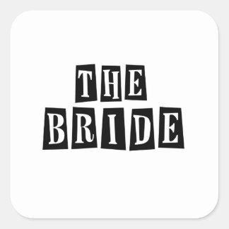B&W Retro Stamp - The Bride Square Sticker